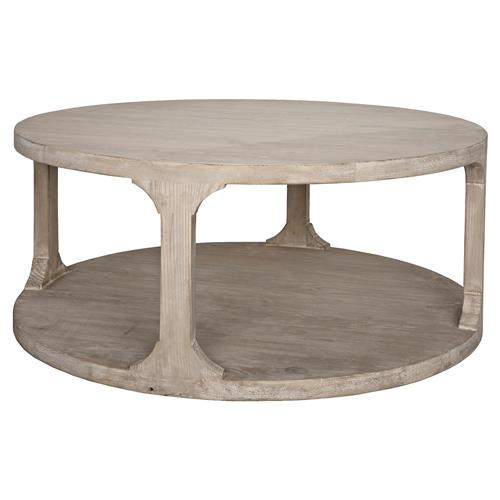 Andre Coastal Beach Grey Washed Reclaimed Wood Round Coffee Table - Small | Kathy Kuo Home