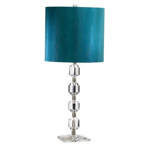 Henrietta Modern Peacock Blue Crystal Table Lamp | Kathy Kuo Home