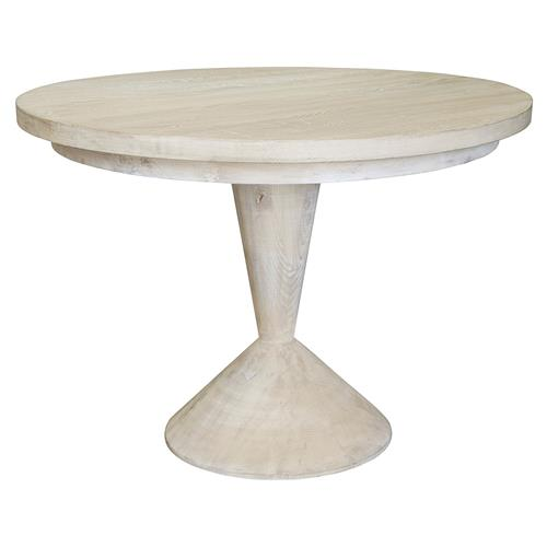 Remy Coastal Beach Grey Washed Reclaimed Wood Round Dining Table | Kathy Kuo Home
