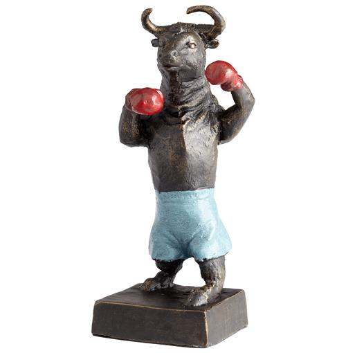 Freestyle Boxing Bull Blue Shorts Red Gloves Sculpture | Kathy Kuo Home