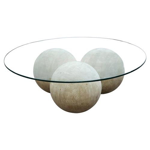 Valerie Modern Rustic Round Glass Top Reclaimed Wood Sphere Round Coffee Table | Kathy Kuo Home