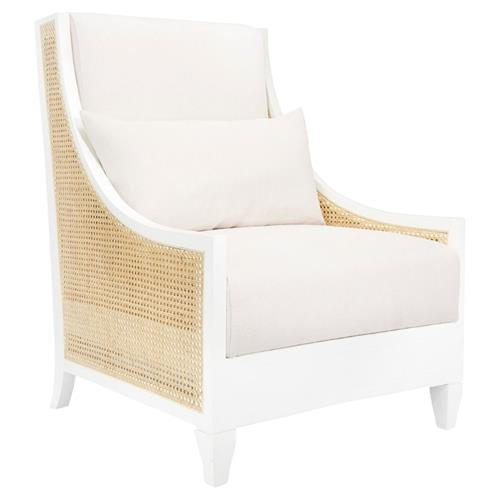 Bungalow 5 Raleigh French Country White Lacquer Caned Wing Chair | Kathy Kuo Home