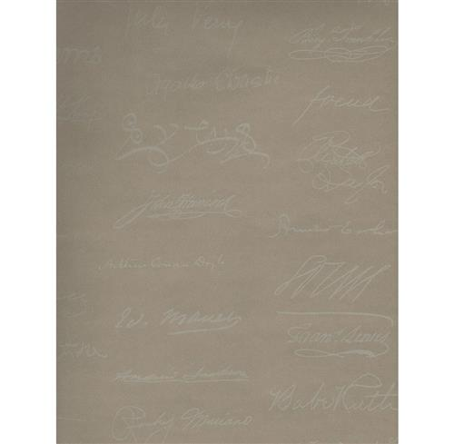 Autograph Reading Room Wallpaper - Linen - 2 Rolls | Kathy Kuo Home