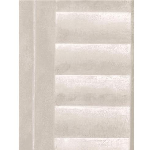 Plantation Distressed Louvered Window Wallpaper - Linen | Kathy Kuo Home