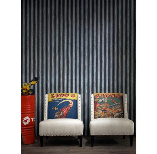 Industrial Palmer Corrugated Steel Wallpaper - Iron | Kathy Kuo Home