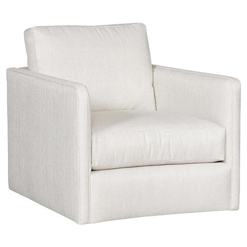 Vanguard Wynne Modern Classic White Upholstered Swivel Arm Chair | Kathy Kuo Home