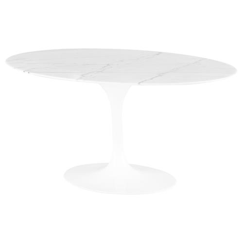 Harold Modern Classic White Metal Wood Oval Dining Table | Kathy Kuo Home