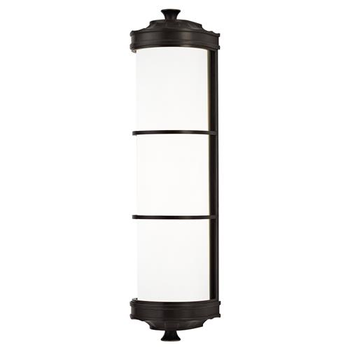 Hudson Valley Albany Modern White Cylinder Glass Old Bronze Sconce | Kathy Kuo Home