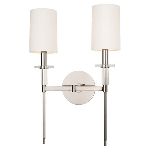 Hudson Valley Amherst Modern 2 Off White Shades Polished Nickel Sconce | Kathy Kuo Home