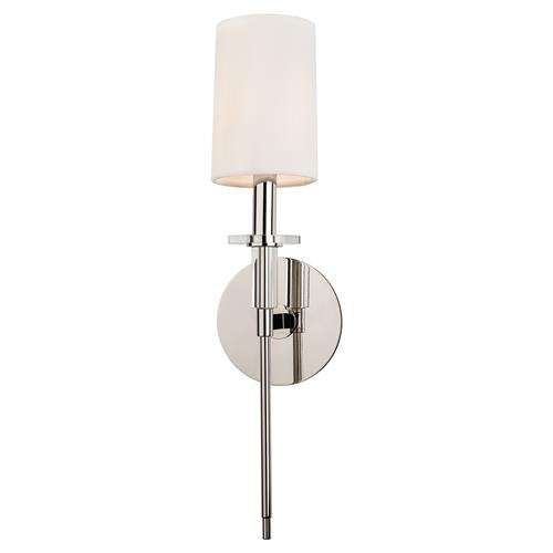 Hudson Valley Amherst Modern Single Off White Shade Polished Nickel Sconce | Kathy Kuo Home
