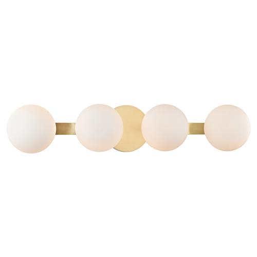 Hudson Valley Baird Modern 4 Light Glass Spheres Aged Brass Sconce | Kathy Kuo Home