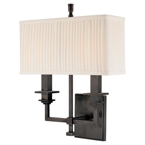 Hudson Valley Berwick Modern Rectangular Shade Old Bronze Sconce | Kathy Kuo Home