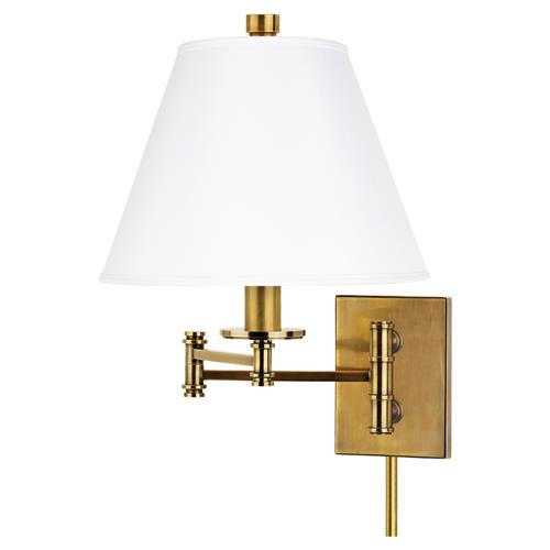 Hudson Valley Claremont Modern Silk Shade Swing Arm Aged Brass Sconce | Kathy Kuo Home