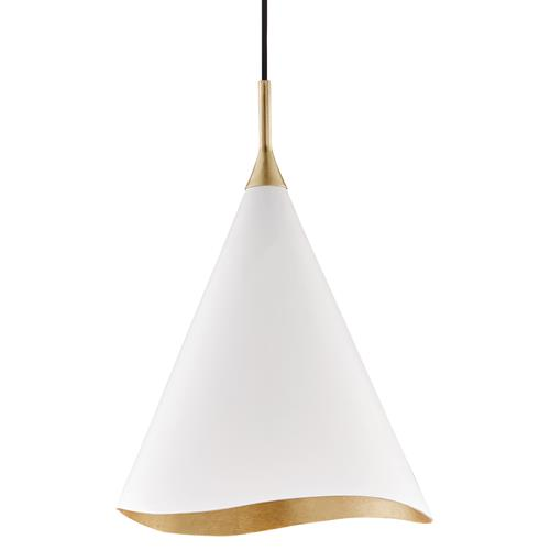 Hudson Valley Martini Modern Classic White Cone Shade Gold Leaf Ceiling Pendant | Kathy Kuo Home