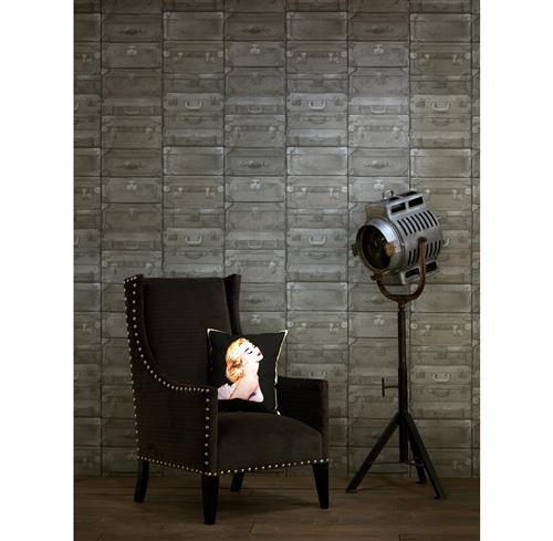 British Industrial Stacked Luggage Wallpaper - Gunmetal | Kathy Kuo Home