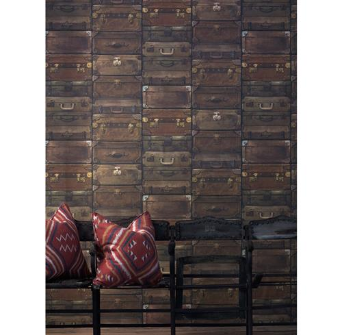 Masculine Vintage Stacked Luggage Wallpaper - Leather | Kathy Kuo Home