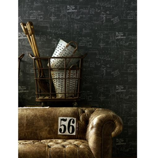 Eton Industrial Chalk Board Wallpaper - Charcoal (Buy Here)