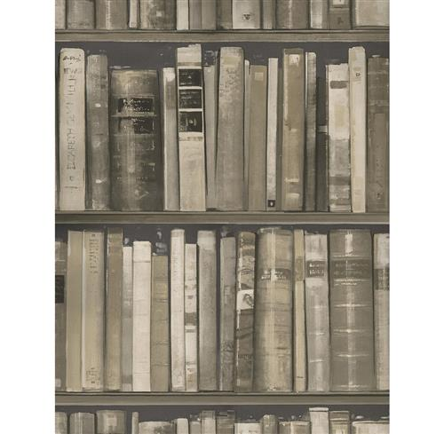 Wall Of Books Library Wallpaper - Stone - 2 Rolls | Kathy Kuo Home