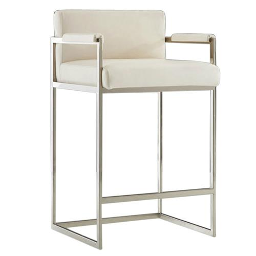 Xenia Modern Classic White Leather Upholstered Silver Bar Stool Kathy Kuo Home