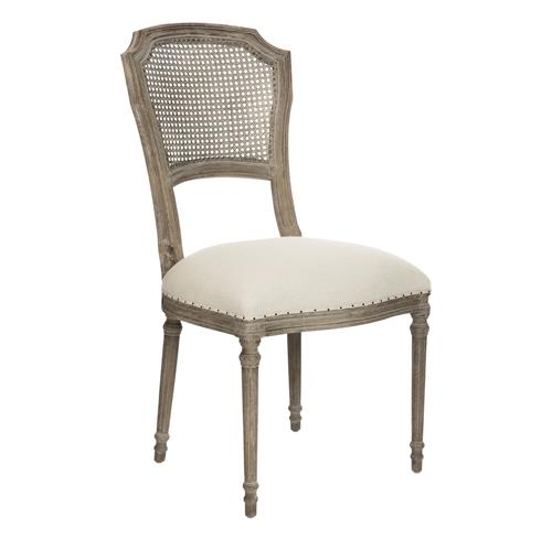 Pair Camilla French Country Washed Taupe Linen Dining Chair | Kathy Kuo Home