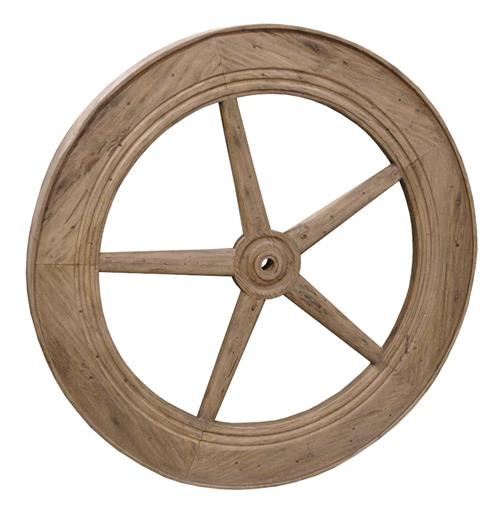 "Rustic Lodge Reclaimed Elm Wood 40"" Large Wheel Wall Decor 