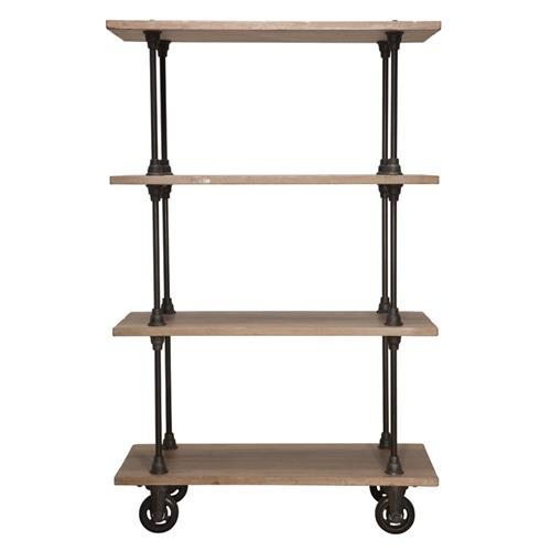 Allenby Industrial Weathered Oak 4 Shelf Rolling Bookcase - S | Kathy Kuo Home