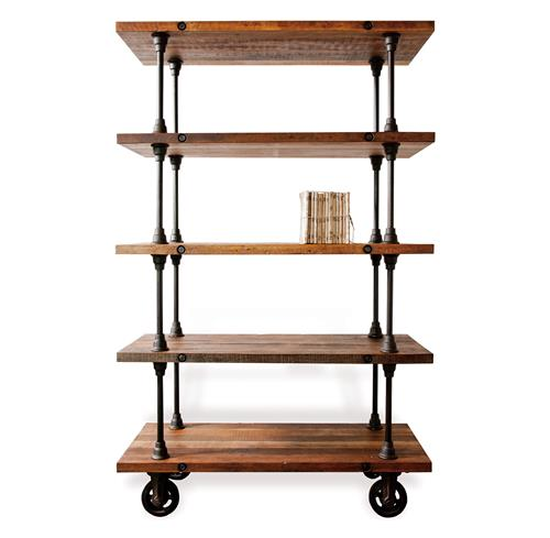 Allenby Industrial Reclaimed Wood 5 Shelf Rolling Bookcase - S | Kathy Kuo Home