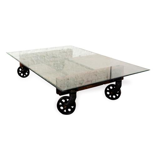 Pittsburgh Industrial Reclaimed Cast Iron Coffee Table Cart | Kathy Kuo Home