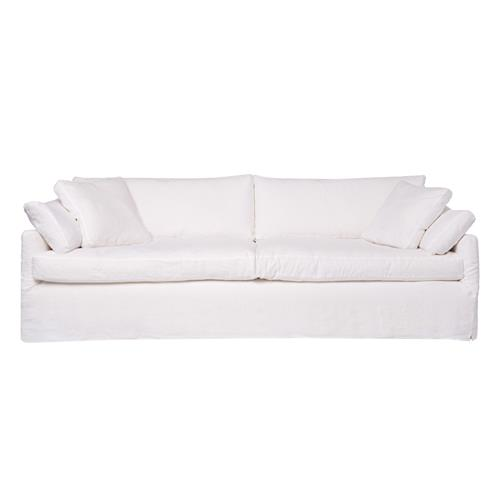 Cisco Brothers Lanister Feather Down White Cotton Coastal Beach Slip Cover Sofa - 96 Inch | Kathy Kuo Home