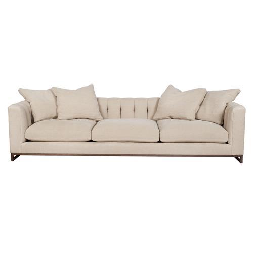 Cisco Brothers Richard Modern Classic Beige Linen Tufted Sofa - 108 inch