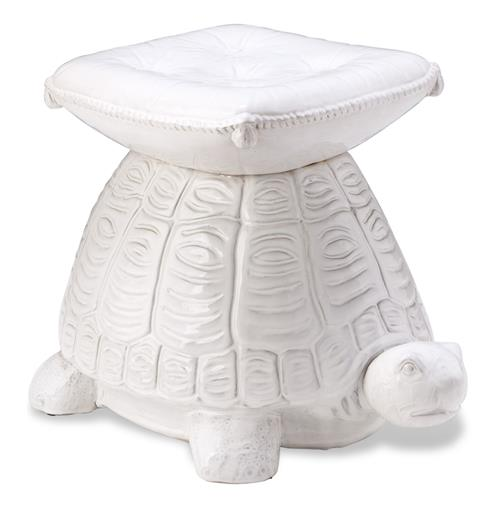 White Coastal Beach Style Turtle Garden Stool | Kathy Kuo Home