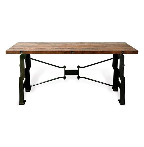 Oliver A Frame Industrial Reclaimed Wood Cast Iron Long Desk | Kathy Kuo Home