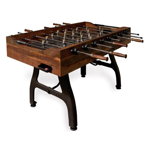 Bradley Industrial Reclaimed Wood Iron Foosball Table | Kathy Kuo Home