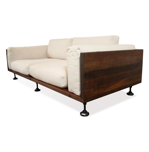Andrew Industrial Reclaimed Wood Cast Iron Sofa | Kathy Kuo Home