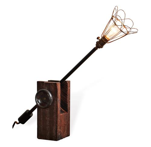 Finley Reclaimed Wood Industrial Wire Shade Desk Lamp | Kathy Kuo Home