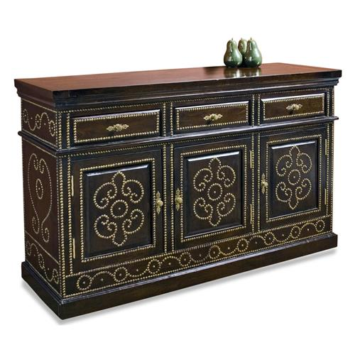 Solid Walnut Buffet ~ Marabak solid walnut nail head sideboard traditional