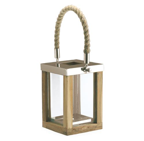 Beach Style Teak Stainless Steel Square Outdoor Candle Lantern | Kathy Kuo Home