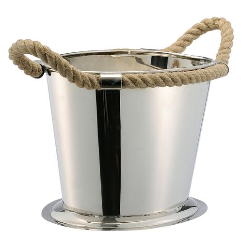 Nautical Rope Polished Silver Modern Wine Cooler | Kathy Kuo Home