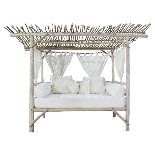 Teresa Coastal Beach White Bleached Teak Wood Branch Outdoor Daybed | Kathy Kuo Home