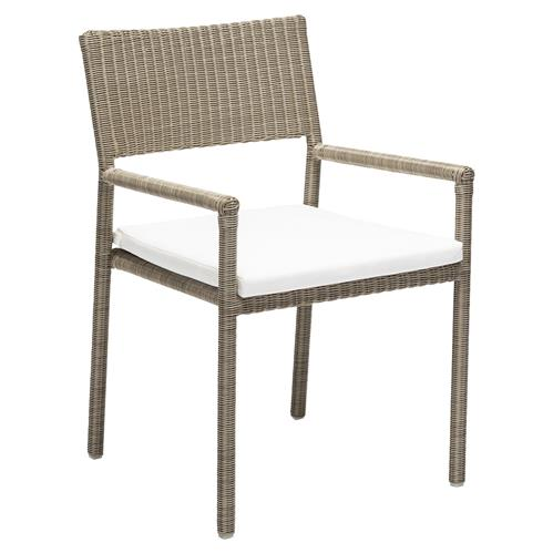 Katelyn Modern Classic White Cushion Brown Rattan Outdoor Dining Arm Chair Kathy Kuo Home