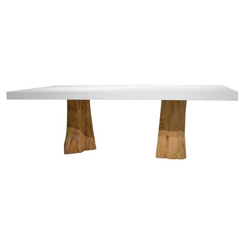 Virginia Modern Rustic Grey Fiberglass Cement Top Teak Wood Stump Outdoor Dining Table - 94 inch | Kathy Kuo Home