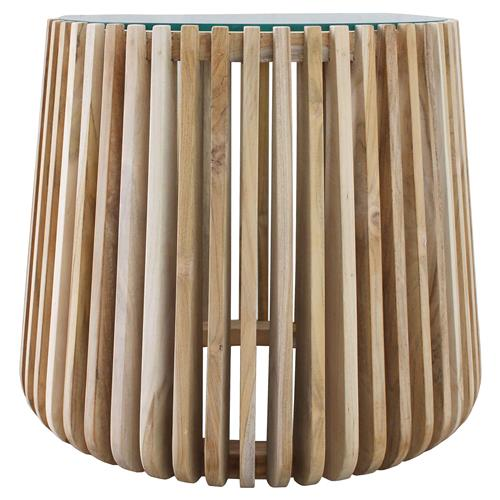 Betty Coastal Beach Glass Top Slatted Teak Wood Round Coffee Table | Kathy Kuo Home