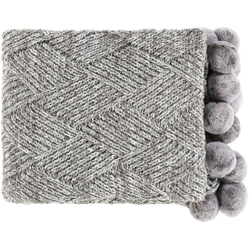 Poppy Modern Classic Charcoal Grey Knitted Pom Pom Edge Throw Blanket | Kathy Kuo Home
