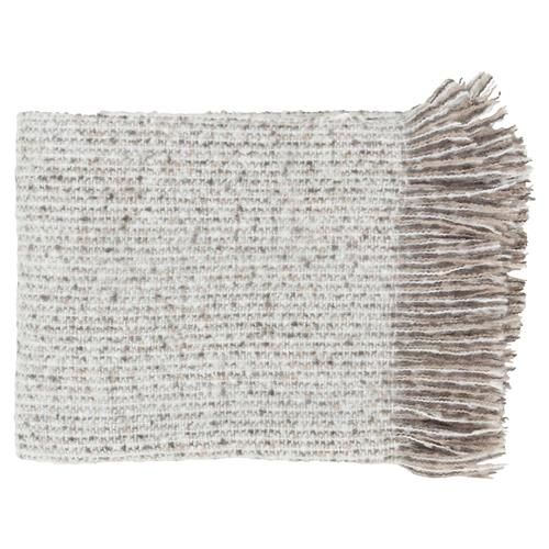 Joy Modern Classic Rectangular Ivory Acrylic Throw Blanket | Kathy Kuo Home