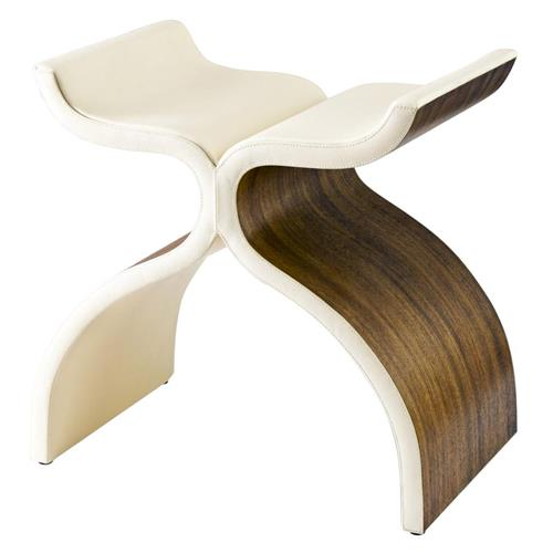 Cluny Modern Sculptural Wood Leather Stool | Kathy Kuo Home