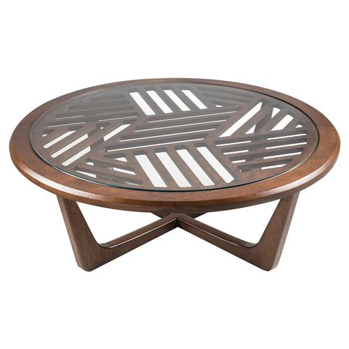 Adriana Hoyos Rumba Modern Classic Glass Top Brown Slatted Wood Round Coffee Table | Kathy Kuo Home