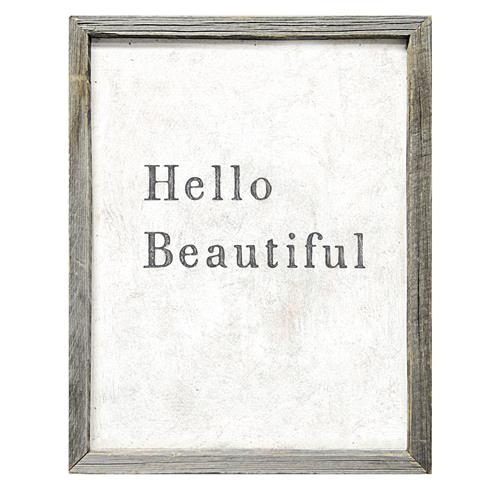 Hello Beautiful Simplicity Vintage Reclaimed Wood Wall Art | Kathy Kuo Home