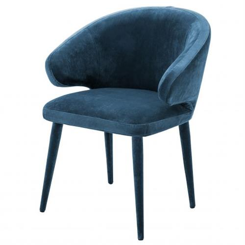 Eichholtz Cardinale Modern Classic Blue Velvet Dining Arm Chair | Kathy Kuo Home