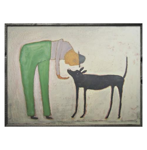 Man With Black Dog Reclaimed Wood Wall Art - 36 Inch | Kathy Kuo Home