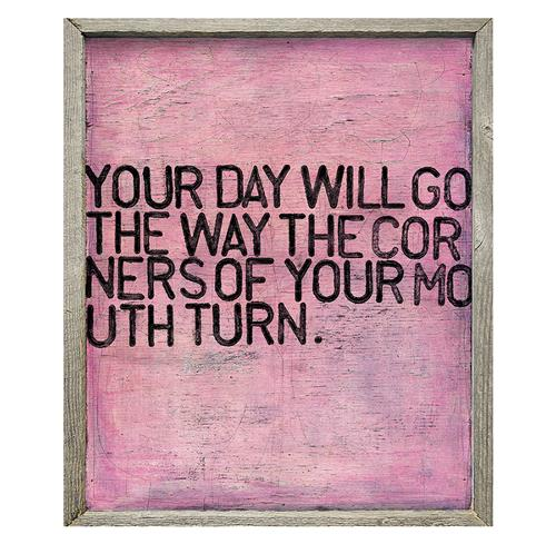 Your Day Will Go Pink Distressed Reclaimed Wood Frame Wall Art | Kathy Kuo Home